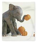 Baby Elephant And Pumpkins Fleece Blanket
