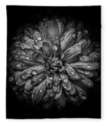 Backyard Flowers In Black And White 44 Fleece Blanket by Brian Carson