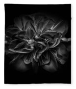 Backyard Flowers In Black And White 67 Fleece Blanket by Brian Carson