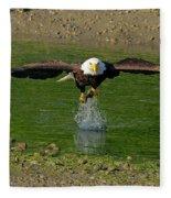 Bald Eagle Catching A Fish Fleece Blanket