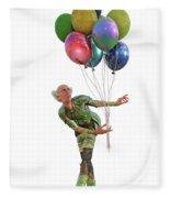 Balloons And Happy Guy Fleece Blanket