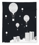 Balloons And The City Fleece Blanket