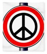 Ban The Bomb Road Sign Fleece Blanket