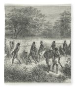 Band Of Captives In The Village Of Mbame Fleece Blanket