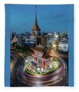 Bangkok Traffic Circle Fleece Blanket