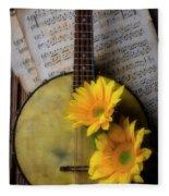 Banjo And Two Sunflowers Fleece Blanket