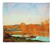 Banks Of The Seine Near Bougival - Digital Remastered Edition Fleece Blanket
