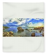 Bansai Rock, Lake Tahoe, Nevada, Panorama Fleece Blanket