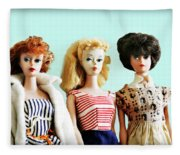 Barbies On Blue Fleece Blanket