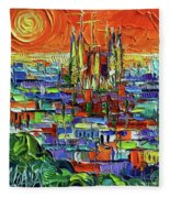 Barcelona Orange View - Sagrada Familia View From Park Guell - Abstract Palette Knife Oil Painting Fleece Blanket