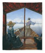 Barge Trip On The Elbe Near Dresden, Morning On The Elbe, 1827 Fleece Blanket