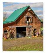 Barn In Autumn Fleece Blanket