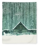 Barn In Snowfall Fleece Blanket
