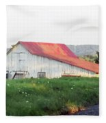Barn With Red Roof Fleece Blanket