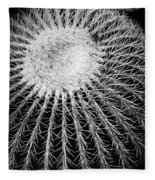 Barrel Cactus Black And White Fleece Blanket