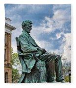 Bascom Hall Lincoln Statue Fleece Blanket