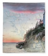 Bass Harbor Lighthouse On A Chart Fleece Blanket