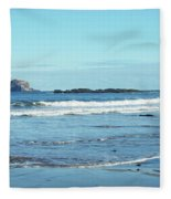 Bass Rock And Beach At North Berwick Fleece Blanket