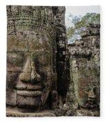 Bayon Faces, Angkor Wat, Cambodia Fleece Blanket