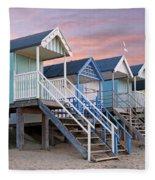 Beach Huts Sunset Fleece Blanket