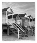 Beach Huts Sunset In Black And White Square Fleece Blanket