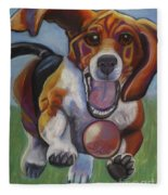 Beagle Chasing Ball Fleece Blanket