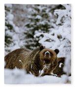 Bear In The Snow Fleece Blanket