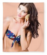 Beautiful Beach Babe Over Studio Background Fleece Blanket