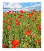 Beautiful Fields Of Red Poppies Fleece Blanket