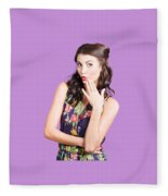 Beautiful Girl With Red Lips Expressing Surprise Fleece Blanket