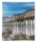 Beautiful Pier Maine Morning Fleece Blanket