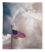 Beautifully Waves - U S Flag And Clouds Fleece Blanket