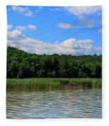 Beaver Lodge On Southern Lake Champlain New York Fleece Blanket