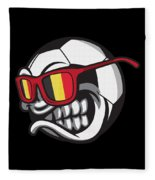 Belgium Angry Soccer Ball With Sunglasses Fanshirt Fleece Blanket