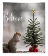 Believe Christmas Tree Squirrel Square Fleece Blanket