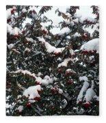Berries And Snow Fleece Blanket