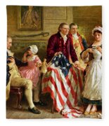 Betsy Ross And General George Washington Fleece Blanket