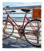 Bicycle At The Beach Fleece Blanket