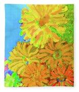 Biggie Flowers Sky Fleece Blanket