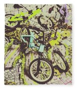 Bikes And City Routes Fleece Blanket