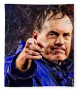 Bill Stephen Belichick Portrait Fleece Blanket