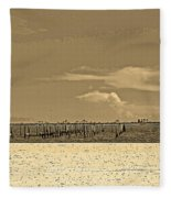 Biloxi's Pristine Beach In Sepia Tones Fleece Blanket