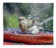 Bird In A Bath Fleece Blanket