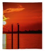 Bird On A Pole Sunrise Fleece Blanket