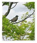 Bird Resting On Branch Fleece Blanket