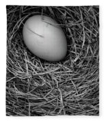 Birds Nest Black And White Fleece Blanket by Edward Fielding