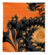 Black And Orange  Swirls Fleece Blanket