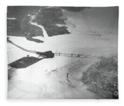 Black And White Aerial View Of Downtown San Francisco With Sun R Fleece Blanket