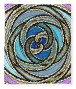 Black And White Fractal Design, Multicolored Background Fleece Blanket