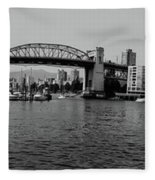 black and white panorama of Vancouver from plaza of nations showing the beautiful city Fleece Blanket